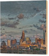 Cotton Candy Sky Over Charlotte North Carolina Downtown Skyline Wood Print