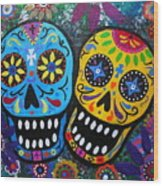 Couple Day Of The Dead Wood Print by Pristine Cartera Turkus