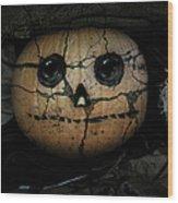 Creepy Halloween Pumpkin Wood Print