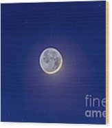 Crescent Moon With Earthshine Wood Print