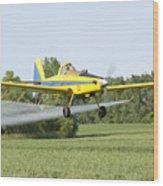 Crop Dusting Plane Wood Print