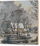 Currier & Ives: Winter Scene Wood Print