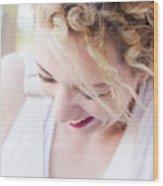 Cute Curly Blond Girl  Wood Print
