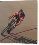 Cycle Racing On The Curve Wood Print