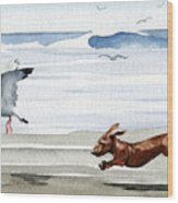 Dachshund At The Beach  Wood Print