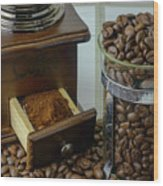 Daily Grind Coffee Beans Wood Print