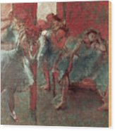 Dancers At Rehearsal Wood Print by Edgar Degas