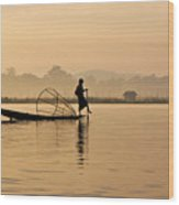 Dawn On Inle Lake Wood Print