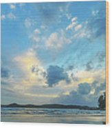Dawn Seascape With Cloudy Sky Wood Print