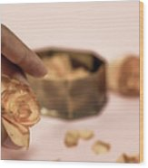Dead Flower Petals With A Gift, Begonia Wood Print