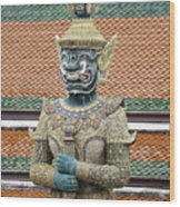 Detail From A Buddhist Temple In Bangkok Thailand Wood Print
