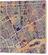 Detroit Michigan City Map Wood Print