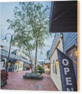 Downtown Of Newport Rhode Island At Dusk Hours Wood Print