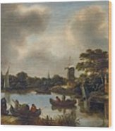 Dutch Landscape With Fishers Wood Print