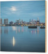early morning sunrise over city of philadelphia PA Wood Print