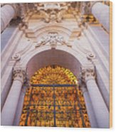 Entrance Of The Syracuse Baroque Cathedral In Sicily - Italy Wood Print
