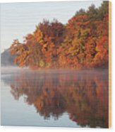 Fall Sunrise At Cox Hollow Lake In Governor Dodge State Park Wood Print