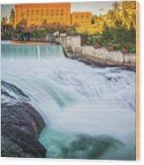 Falls And The Washington Water Power Building Along The Spokane  Wood Print