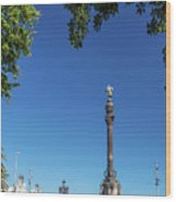 Famous Columbus Monument Landmark In Central Barcelona Spain Wood Print
