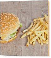 Fat Hamburger Sandwich Wood Print by Sabino Parente