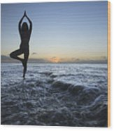 Female Doing Yoga At Sunset Wood Print