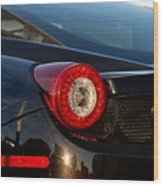 Ferrari Tail Light Wood Print