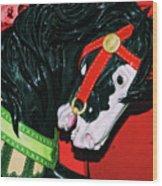 Fiery Stallion Wood Print