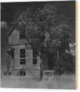 Film Homage Anthony Perkins Janet Leigh Alfred Hitchcock Psycho 1960 Vacant House Black Hills Sd '65 Wood Print