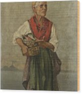 Fish Seller With The Vesuvio In The Background Wood Print
