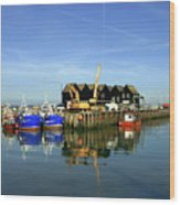 Fishing Boats At Whitstable Harbour 03 Wood Print