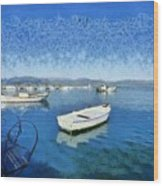 Fishing Boats In Nafplio Town Wood Print