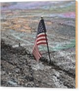 Flag In A Crack In The Pavement Wood Print