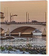 Flagler Bridge In Lights Panorama Wood Print