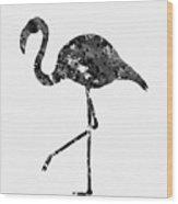 Flamingo-black Wood Print
