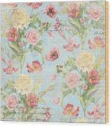 Fleurs De Pivoine - Watercolor In A French Vintage Wallpaper Style Wood Print