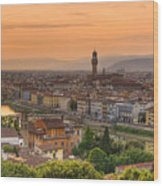 Florence Sunset Wood Print