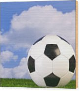 Football On Grass Wood Print by Richard Thomas