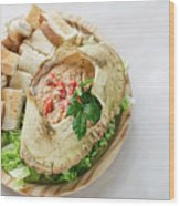 Fresh Crab Seafood Cream Mousse With Toast Tapas Snack Wood Print