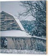 Fresh Snow Sits On The Ground Around An Old Barn Wood Print