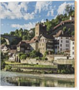 Fribourg Old Town In Switzerland Wood Print