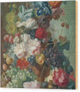 Fruit And Flowers In A Terracotta Vase Wood Print