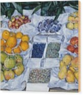 Fruit Displayed On A Stand Wood Print