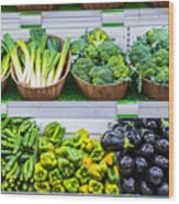 Fruits And Vegetables On A Supermarket Shelf Wood Print