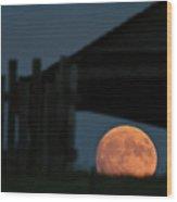 Full Moon Seen Through Old Building Window Wood Print