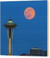 Full Moon With Space Needle Wood Print