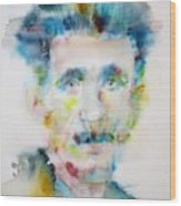 George Orwell - Watercolor Portrait Wood Print