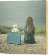 Girl In The Dunes Wood Print