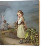 Girl On Her Way To Cooking Potatoes In The Fire Wood Print