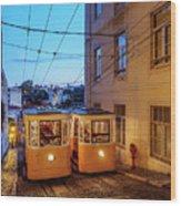 Gloria Funicular, Lisbon, Portugal Wood Print