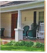 Grand Old House Porch Wood Print